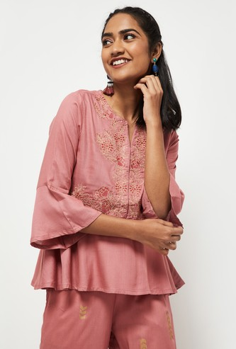 MAX Embroidered Peplum Top with Bell Sleeves