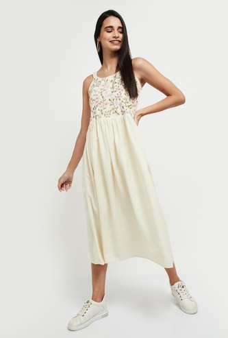 MAX Floral Embroidered A-Line Dress
