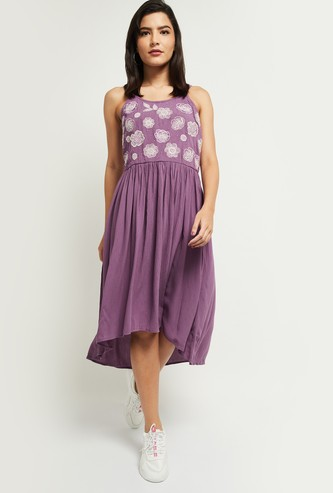 MAX Embroidered Asymmetric A-Line Dress