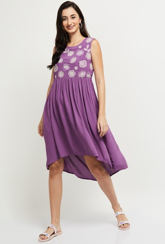 MAX Embroidered Round Neck Sleeveless Dress