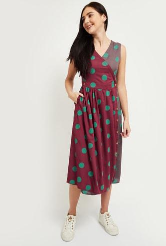 MAX Printed Polka Dot Wrap Dress