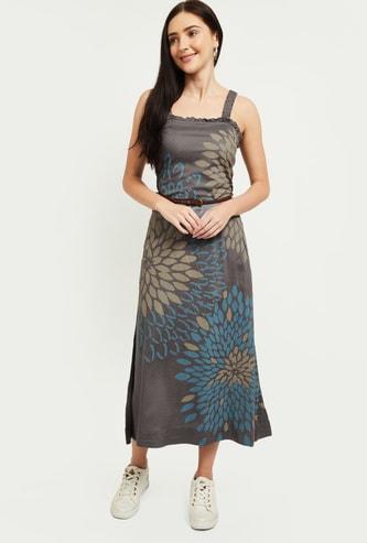 MAX Floral Print Pinafore Dress