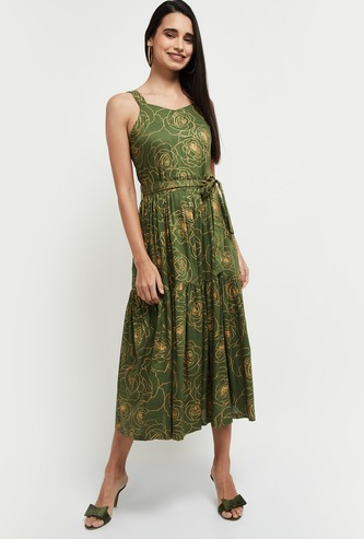 MAX Printed Tie-Up A-Line Dress