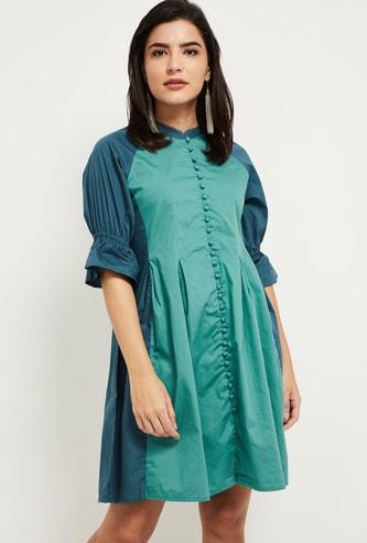 MAX Colourblocked Mandarin Collared Mini Dress