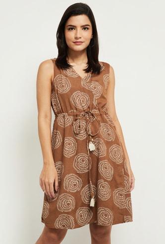 MAX Printed Wrap A-Line Dress