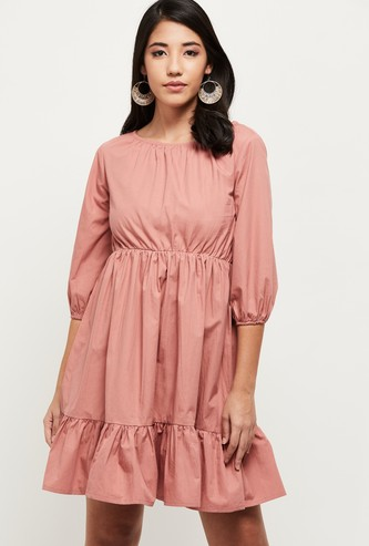 MAX Solid Tiered Dress