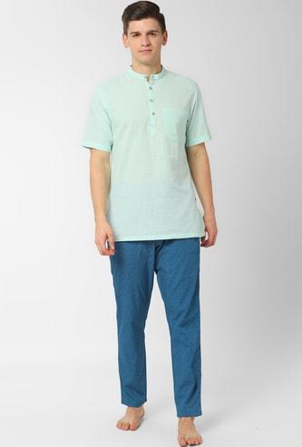 PETER ENGLAND Solid Lounge Shirt with Printed Pyjamas