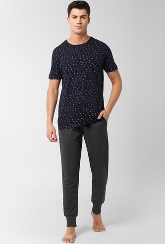 PETER ENGLAND Printed Lounge T-shirt and Joggers Set