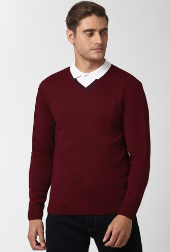 PETER ENGLAND Solid Full Sleeves Sweater
