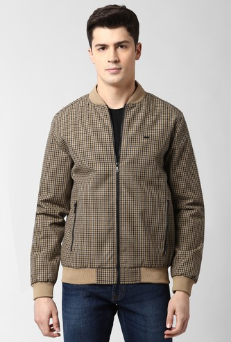 PETER ENGLAND Checked Zip Front Bomber Jacket