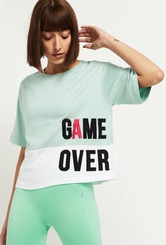 MAX Typographic Print Round Neck Crop T-shirt
