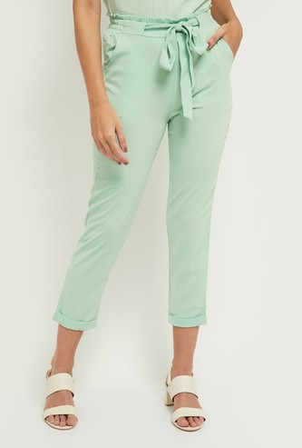 MAX Solid Trousers with Tie-Up