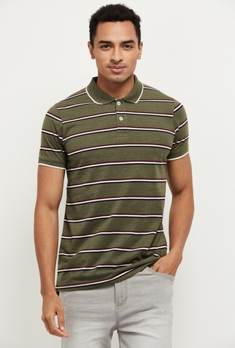 MAX Striped Short Sleeves Slim Fit Polo T-shirt