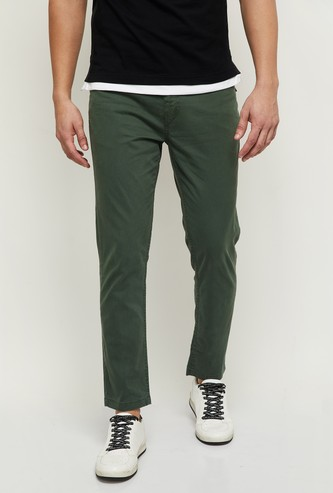 MAX Solid Flat-Front Casual Trousers