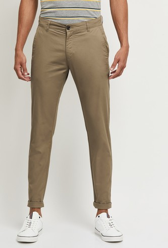 MAX Solid Slim Fit Smart Casual Chinos