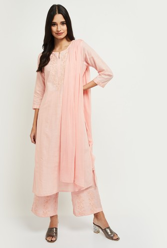 MAX Embroidered Straight Kurta with Solid Palazzos and Dupatta
