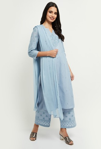 MAX Embroidered Straight Kurta with Pants and Dupatta