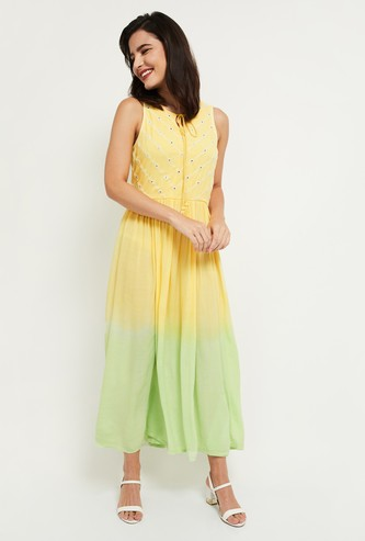 MAX Ombre Sleeveless Maxi Dress with Mirror Work