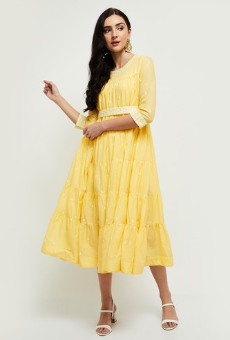 MAX Embroidered Tiered Midi Dress