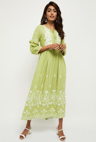 MAX Embroidered Three-Quarter Sleeves Maxi Dress