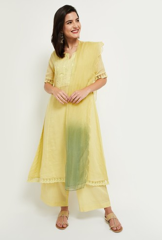 MAX Embroidered Notched Neck Kurta with Short Sleeves