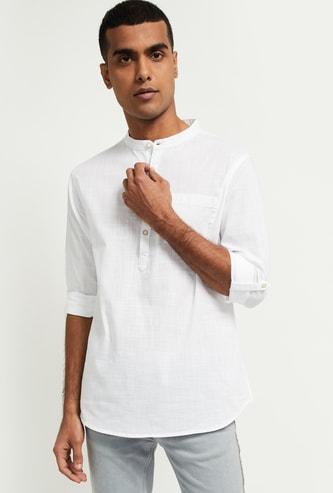 MAX Solid Shirt Kurta with Band Collar