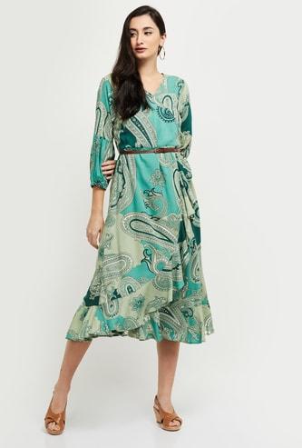 MAX Surplice Neck Paisley Print Wrap Dress