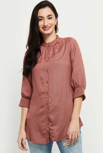 MAX Solid Ruched Neck Top with Smocked Sleeves