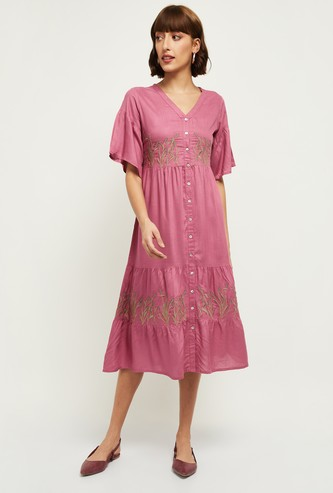 MAX Embroidered Button-Down Tiered Midi Dress