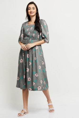MAX Floral Print Square Neck Smocked Midi Dress