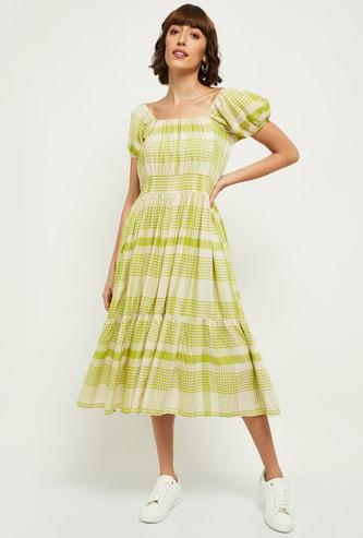 MAX Square Neck Checks Print Tiered Midi Dress