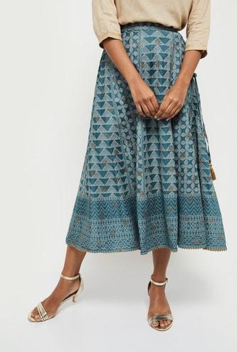 MAX Printed Elasticated Midi Skirt