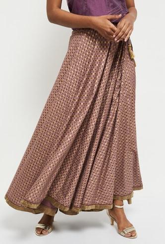 MAX Printed Maxi Skirt with Tassel Danglers
