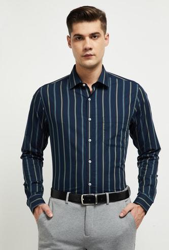 MAX Striped Full Sleeves Slim Fit Formal Shirt