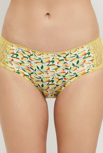 MAX Printed Lace-Detailed Hipster Panties