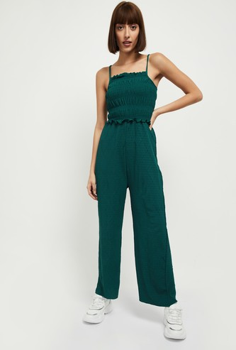 MAX Textured Smocked Full Length Jumpsuit