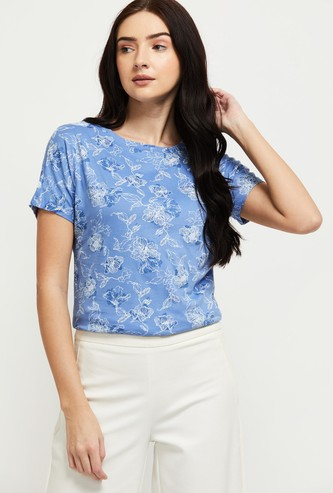 MAX Floral Printed Round Neck T-shirt