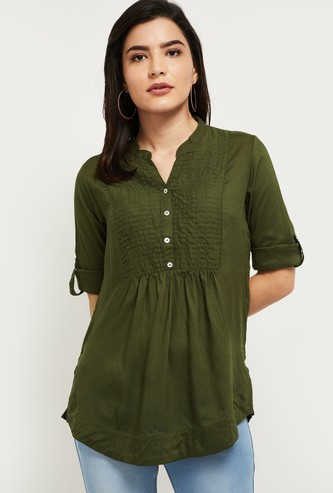MAX Textured Roll-Up Sleeves Top