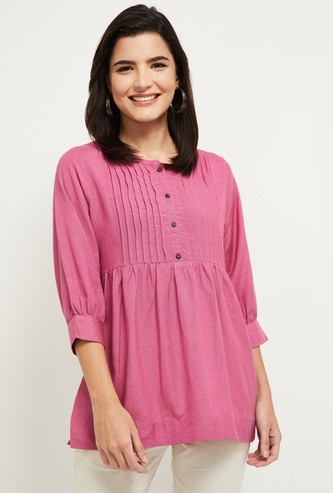 MAX Solid Kurti with Pleats and 3/4 Sleeves