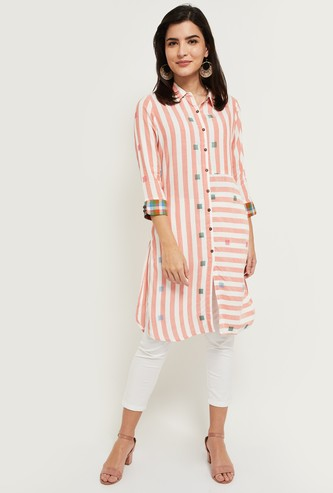 MAX Striped Collared Kurta with 3/4 Sleeves