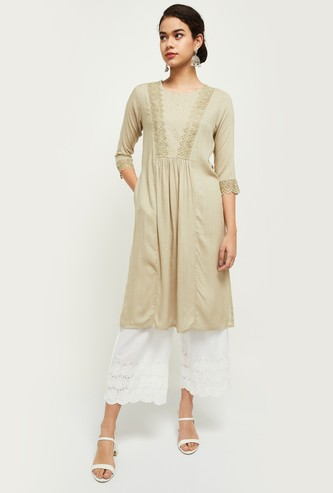 MAX Embroidered Lace Detailed A-Line Kurta