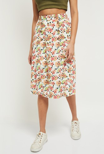 MAX Floral Print Midi Skirt with Button Placket