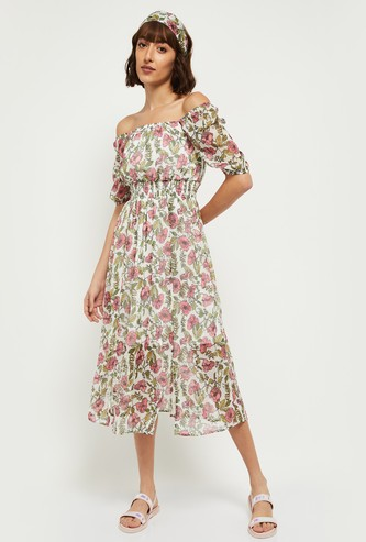 MAX Floral Printed Off-Shoulder Midi Dress