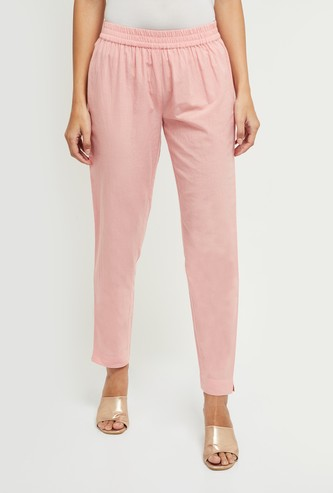 MAX Solid Elasticated Ethnic Straight Pants