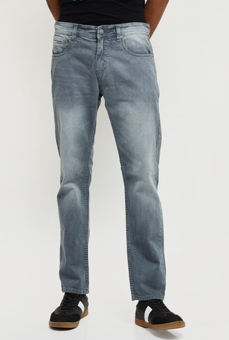 MAX Solid Washed Slim Fit Jeans