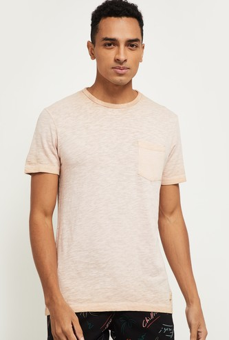 MAX Textured Regular Fit Crew Neck T-shirt