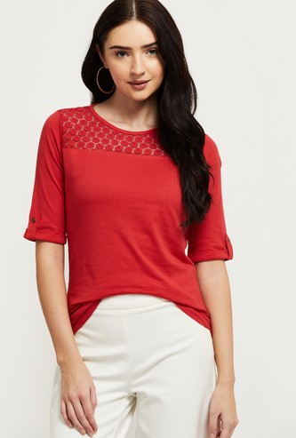 MAX Lace Insert Round Neck Top