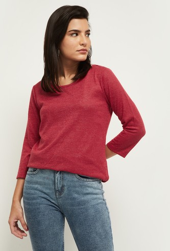 MAX Textured Round Neck Knitted T-shirt