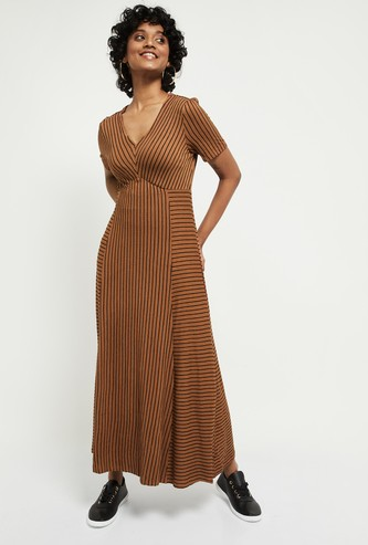 MAX Striped V-neck Maxi Dress