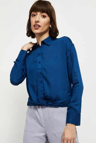 MAX Solid Knotted Hem Casual Shirt